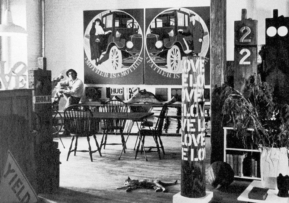 Robert Indiana in his studio, 1966