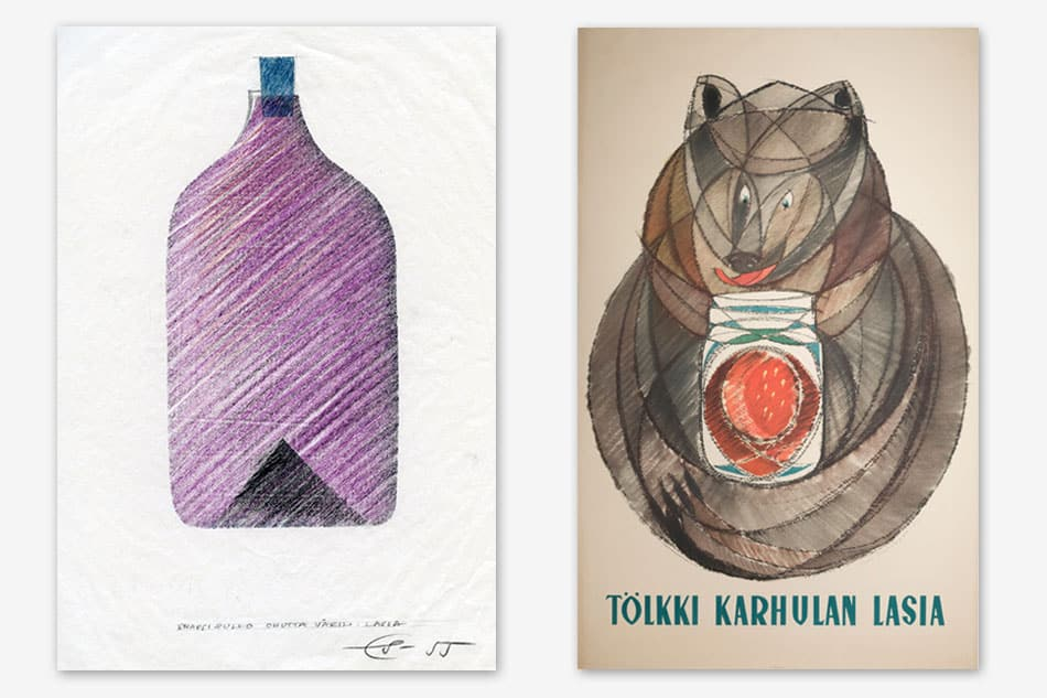 Drawings for Sarpaneva's i-line bottles and a poster designed by Sarpaneva