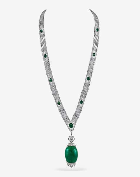 Art Deco platinum and diamond sautoir necklace with a cabochon emerald