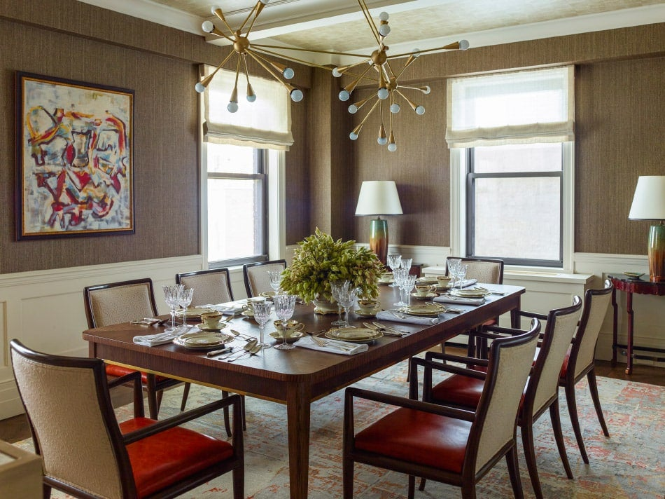 Dining area with a custom light fixture in Gideon Mendelson's apartment