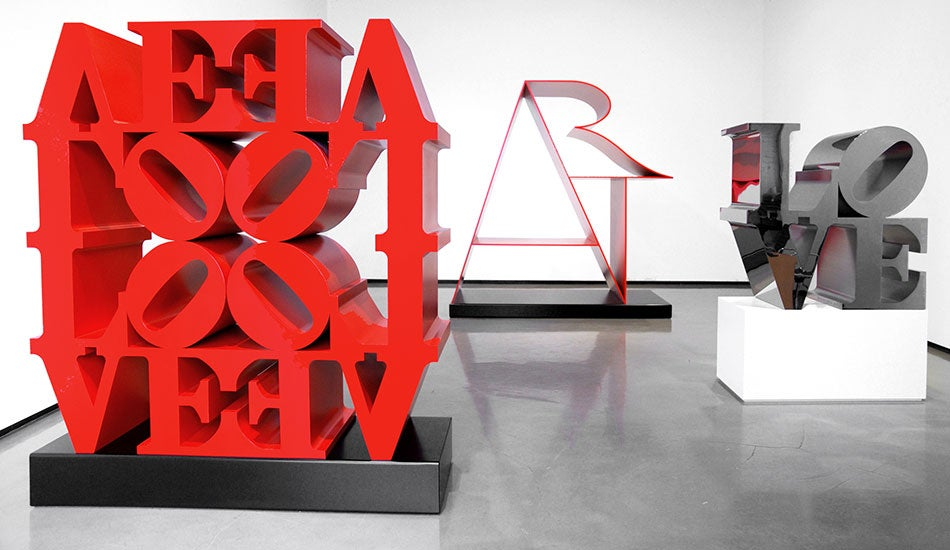 Robert Indiana metal sculpture installation