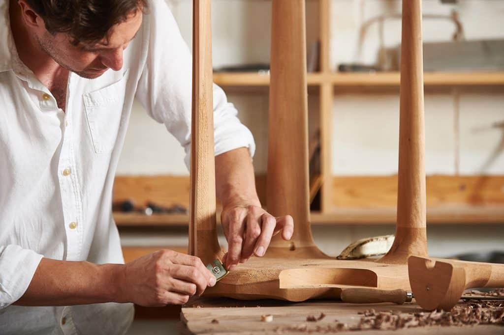 Kurtzworking on his cherrywood Pavilion stool