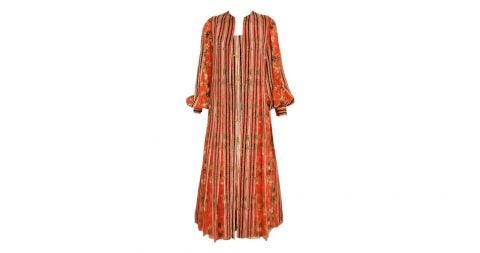 Galanos floral silk dress with vest, 1970s, offered by Sielian's Vintage Apparel