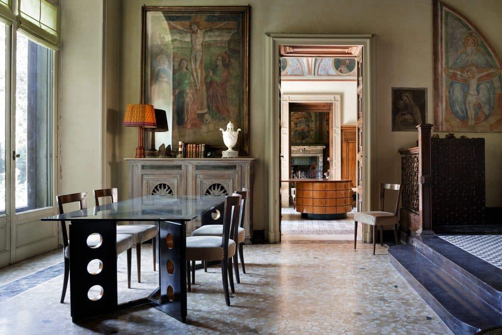 Piero Portaluppi Casa degli Atellani Milan stair hall table and chairs