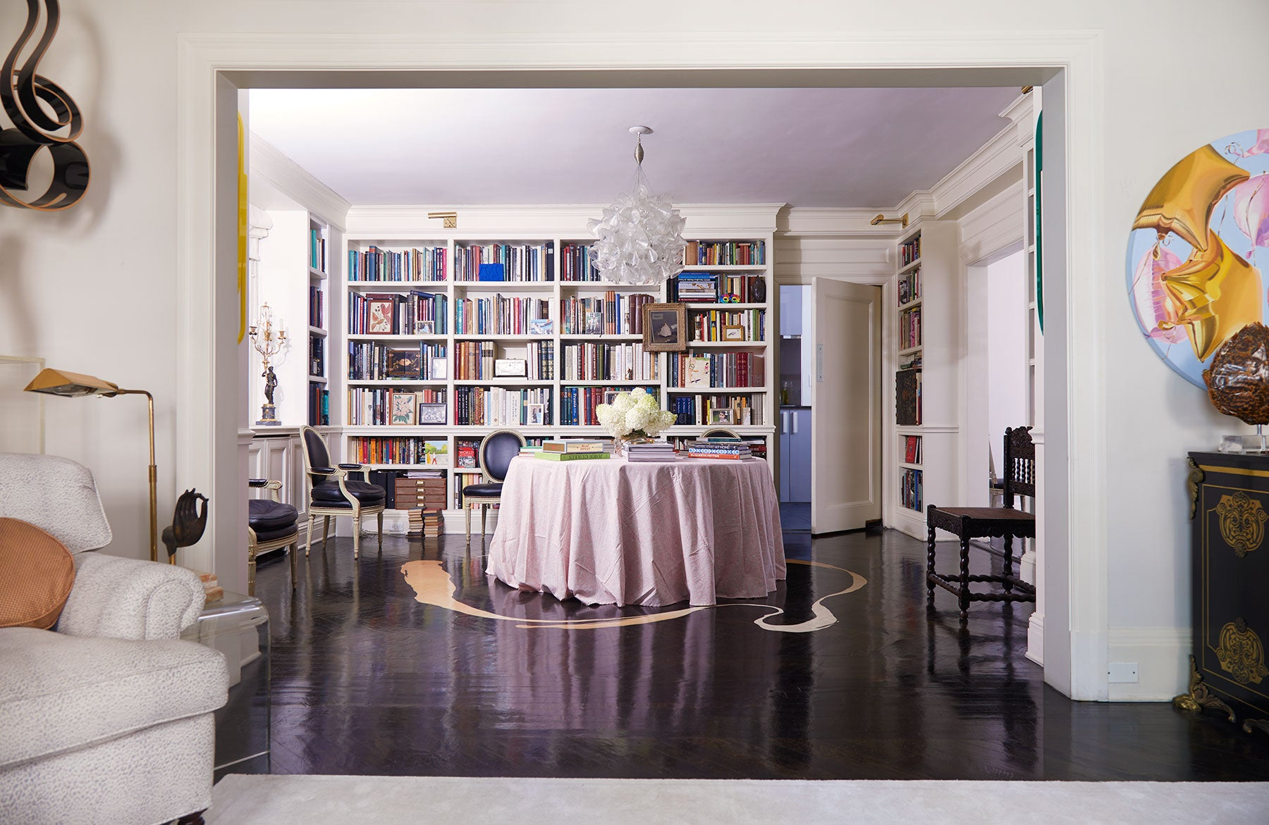 Blair Voltz Clarke and Alistair Clarke New York apartment library