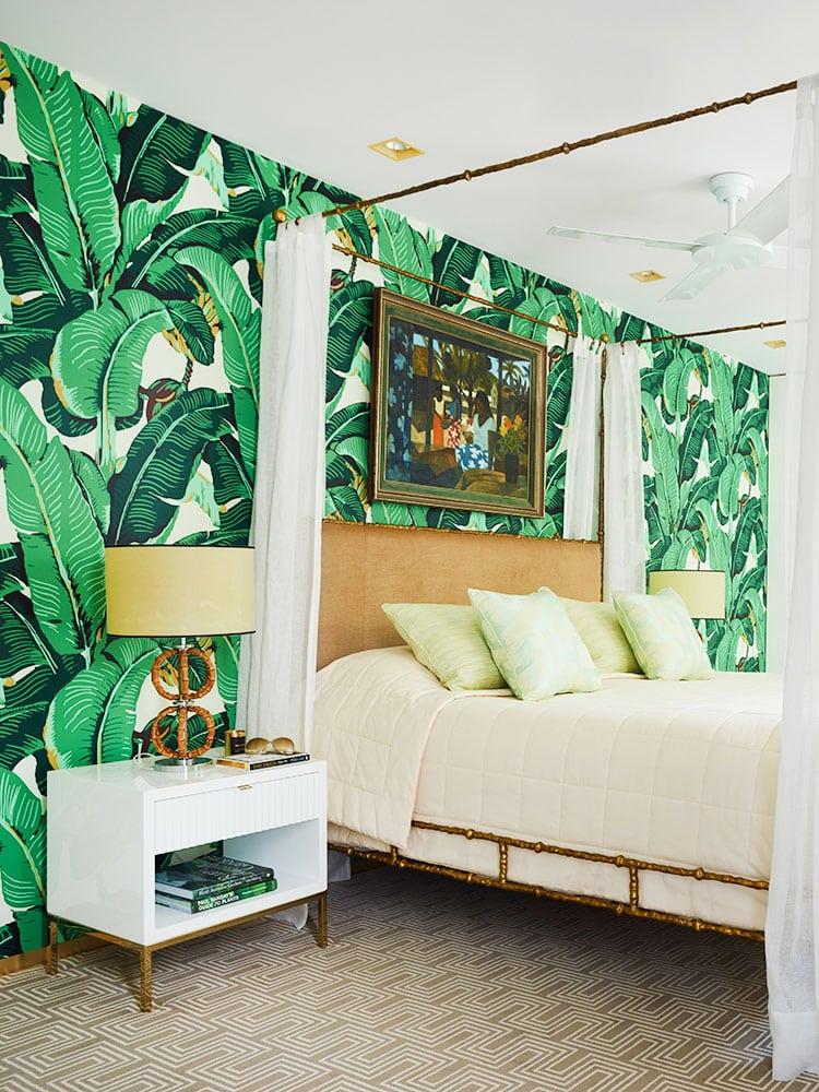 banana leaf wallpaper bedroom