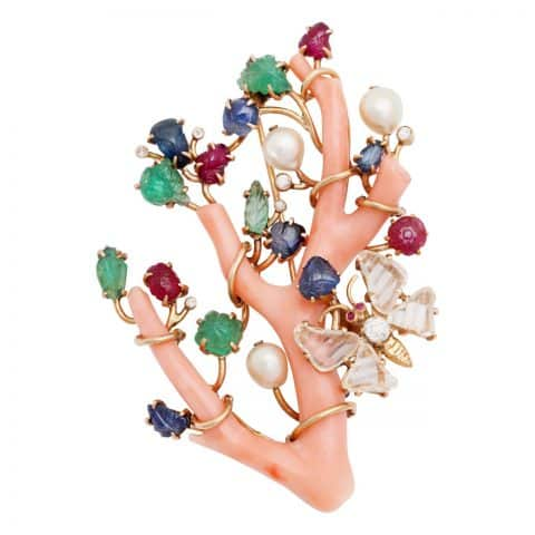 Seaman Schepps coral branch brooch, ca. 1945, offered by Frank Pollak and Sons