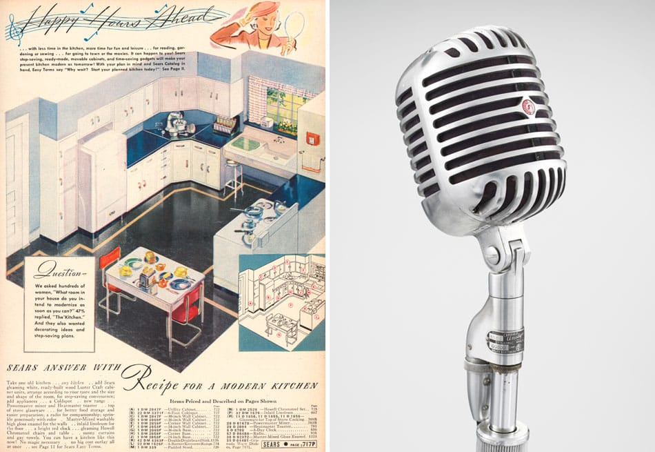 Modern by Design: Chicago Streamlines America Chicago History Museum Sears kitchen advertisement Unidyne microphone Shure Brothers