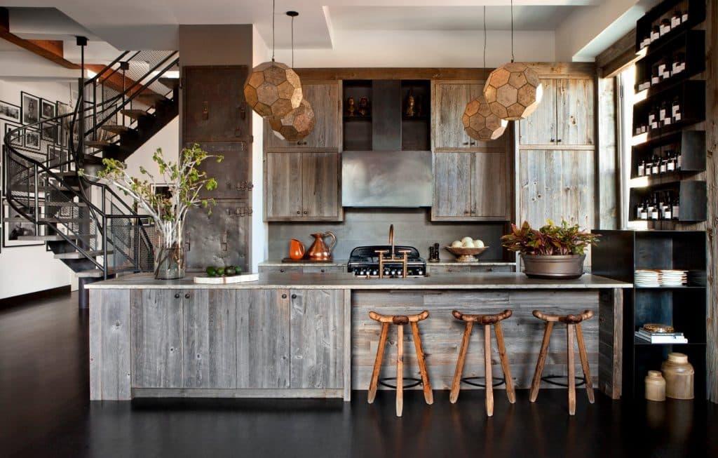 reclaimed wood kitchen by Huniford Design Studio