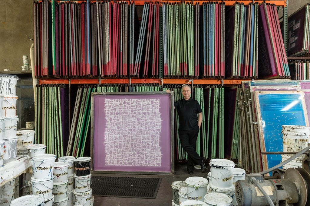 Los Angeles designer Kerry Joyce portrait with textile screens book The Intangible