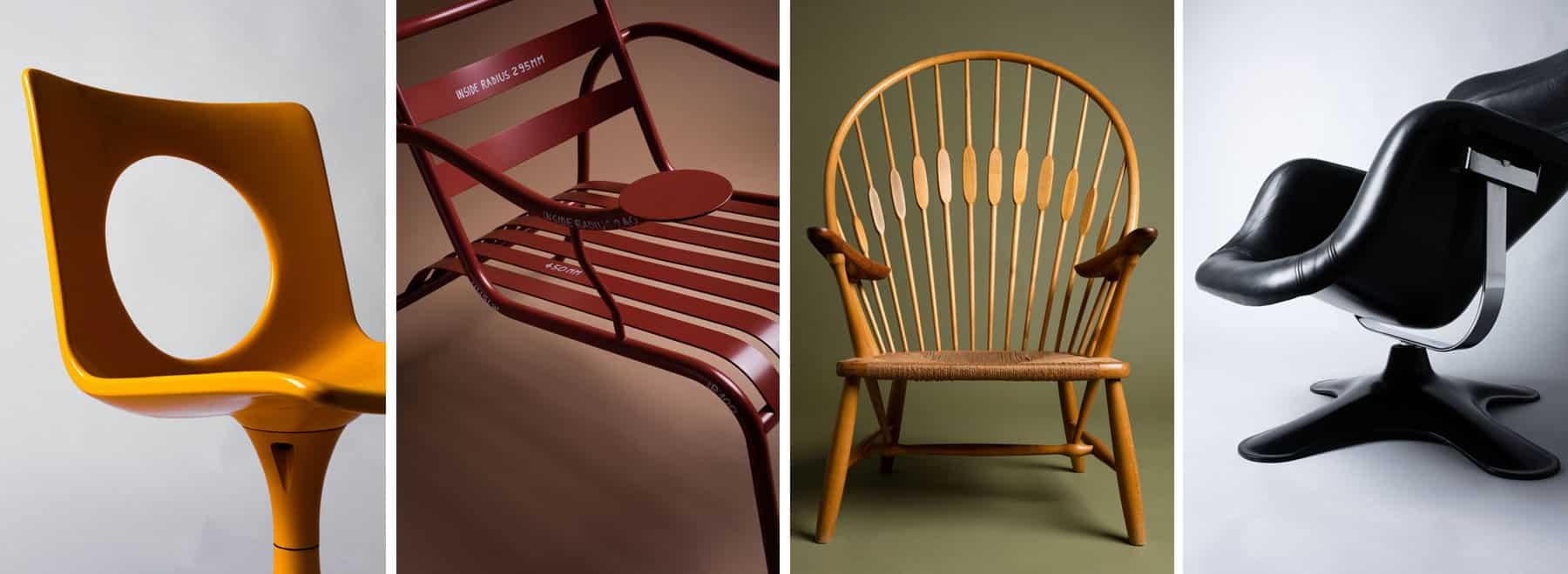 Carl Gustaf Hiort af Ornäs's Afo-Seat, 1971; Jasper Morrison's Thinking Mans chair, 1987; Hans Wegner's Peacock chair, 1947; and Yrjö Kukkapuro's Karuselli chair, 1964