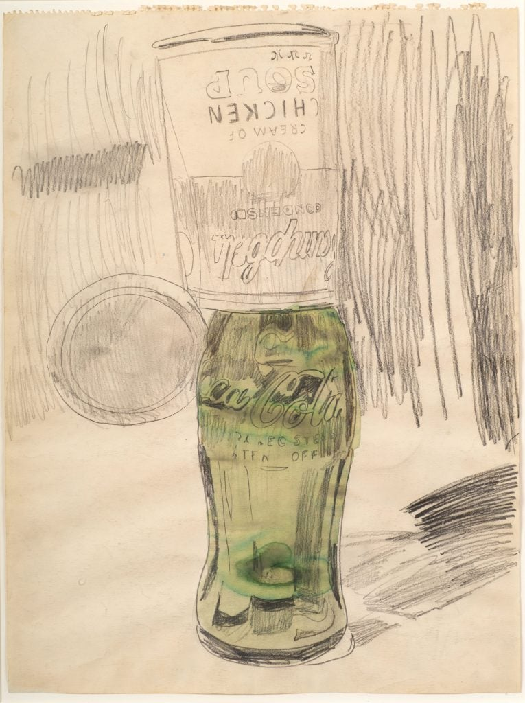 Andy Warhol, Campbell's Soup Can over Coke Bottle, 1962.