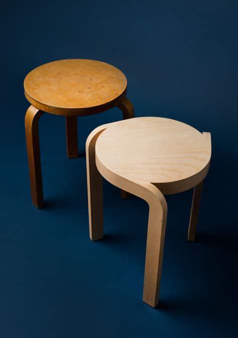 Alvar Aalto No. 60 stool and Staffan Holm's Spin stool