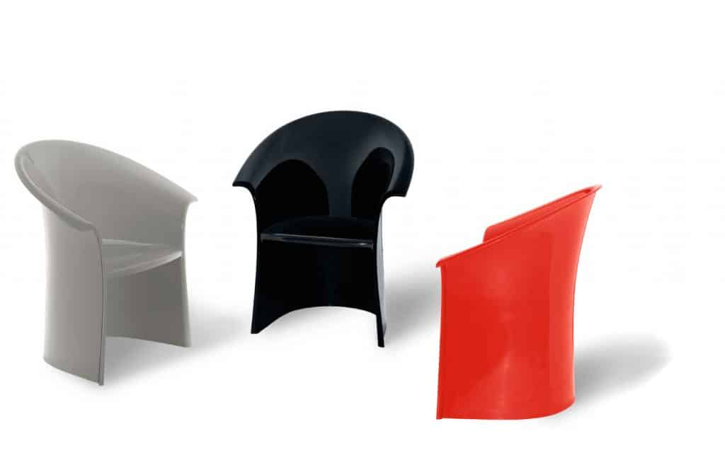 Designers Massimo and Lella Vignelli Heller chairs