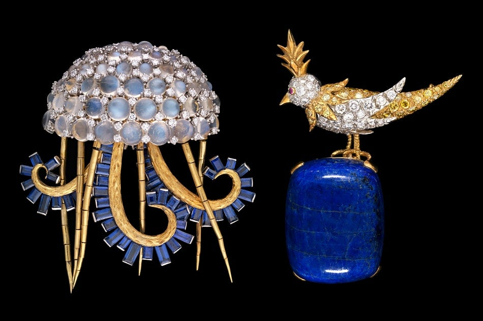 Bunny Mellon's Jean Schlumberger Jellyfish brooch and Bird on a Rock brooch