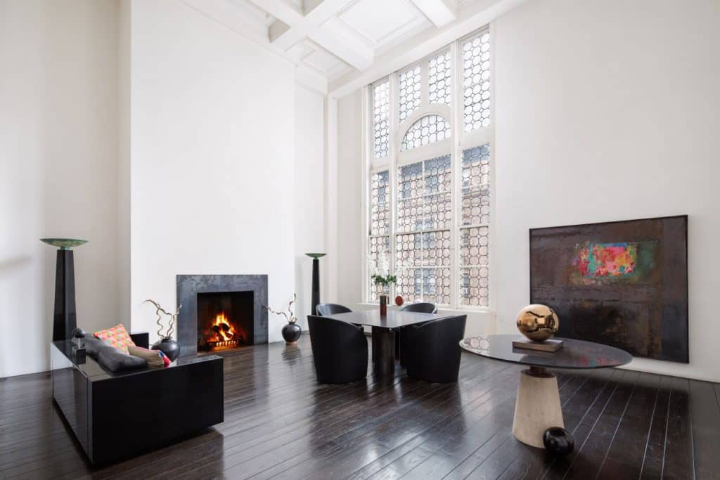 Designers Massimo and Lella Vignelli New York City apartment living room office