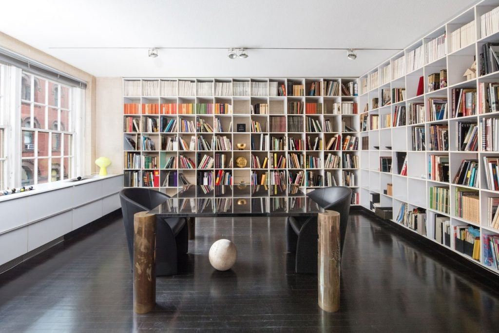 Designers Massimo and Lella Vignelli New York City apartment library office