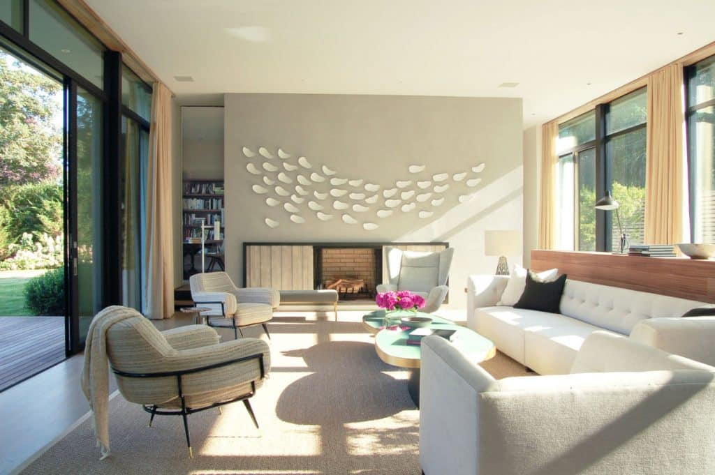 FormArch New York architecture and design firm Amagansett House Long Island Hamptons living room fireplace
