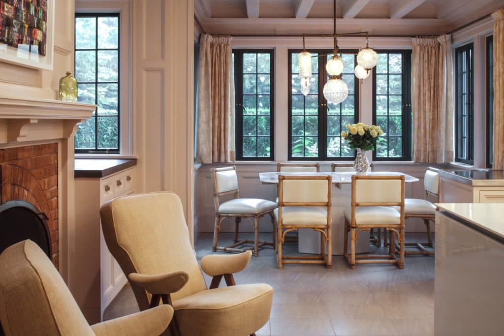 FormArch New York architecture and design firm East Hampton House Long Island Hamptons kitchen breakfast nook fireplace