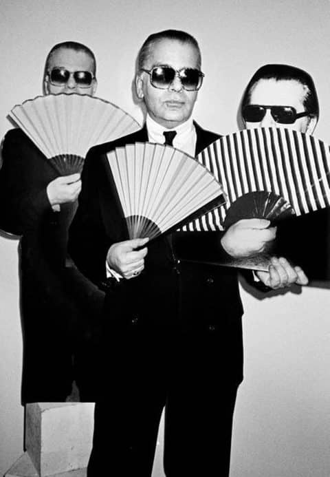 Three Faces of Karl Lagerfeld, 1991, by Roxanne Lowit