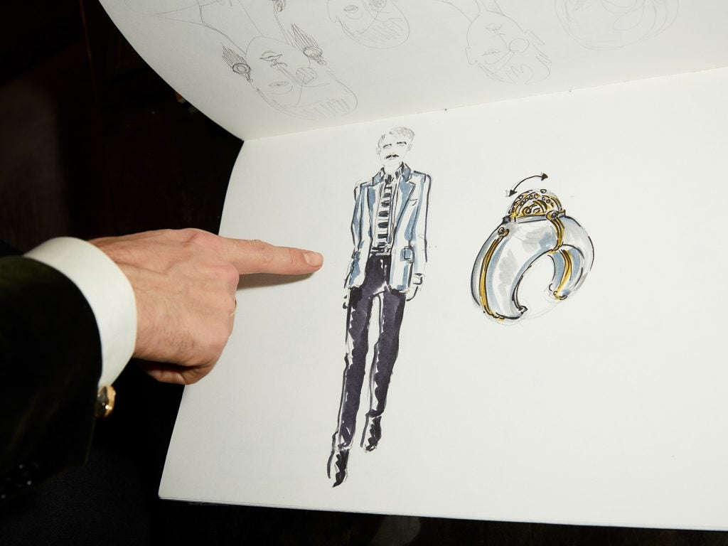 A self-portrait and bracelet sketch by Elie Top