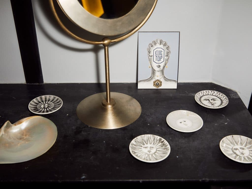 Fornasetti plates in Elie Top's showroom