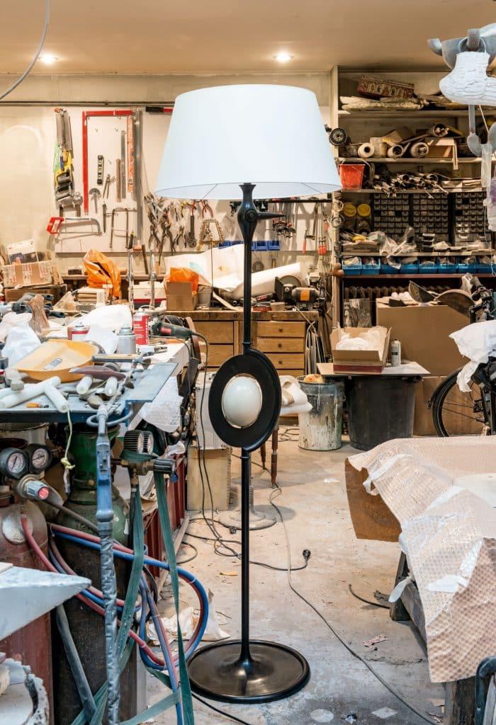 The Autruche floor lamp in Hubert Le Gall's studio