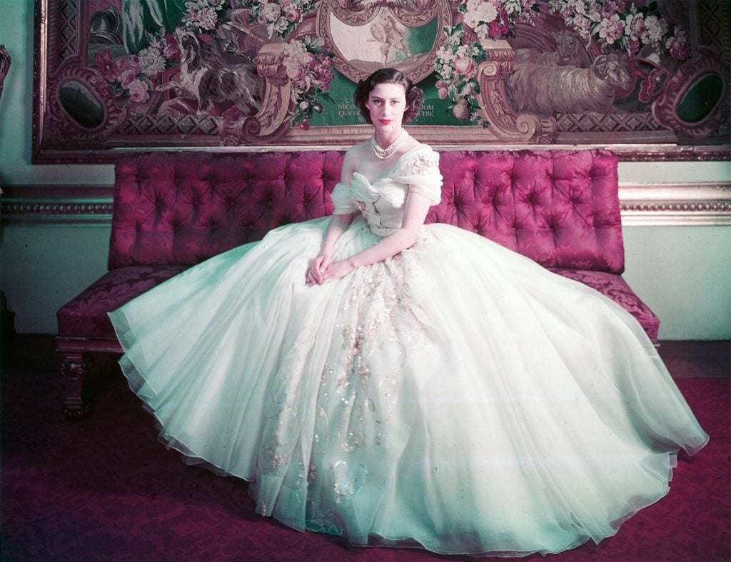 Princess Margaret in a Christian Dior gown