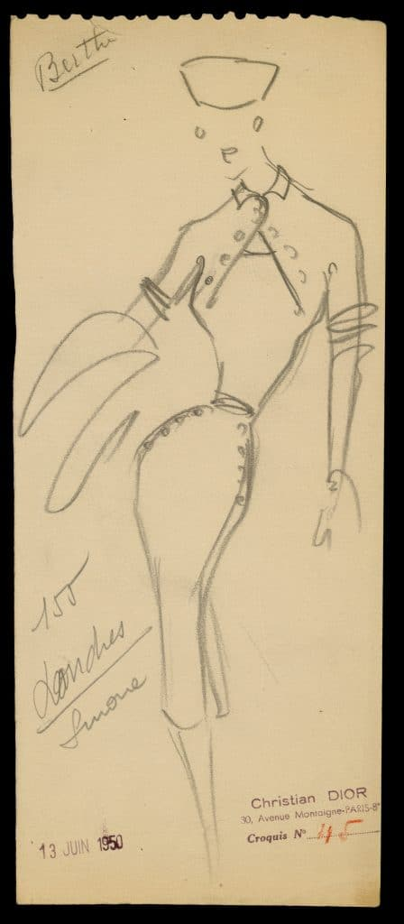 A sketch by Christian Dior for the Autumn/Winter 1950 haute couture collection