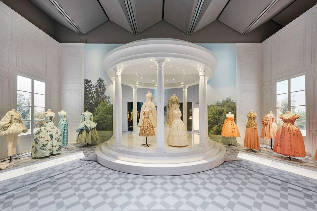 """The Historicism section in the exhibition """"Christian Dior: Designer of Dreams"""" at London's Victoria and Albert Museum"""