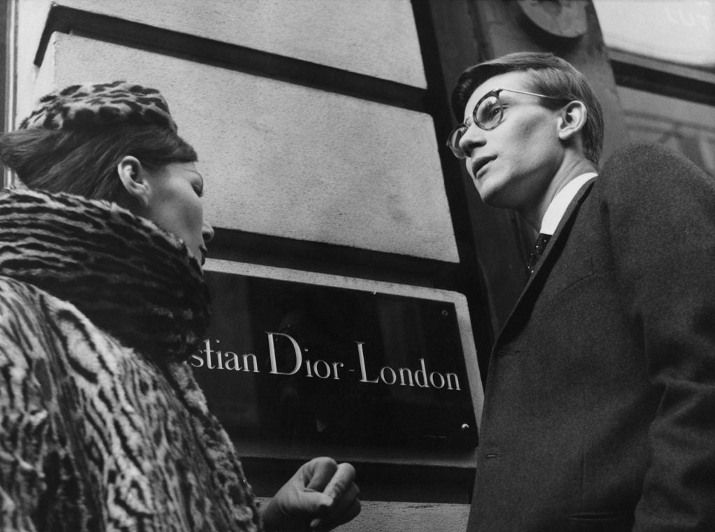 Yves Saint Laurent in front of Christian Dior London