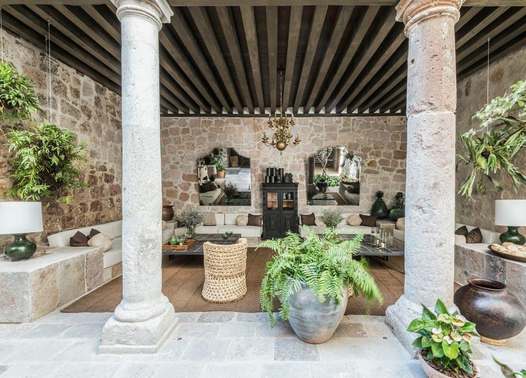 Luis Laplace Morelia Mexico Casa Michelena patio outdoor living room