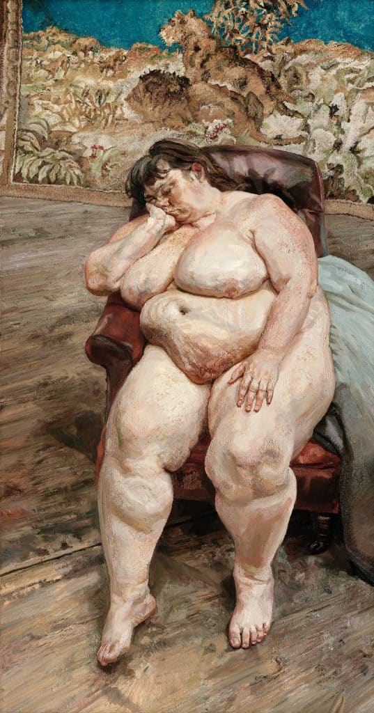 Lucian Freud: Monumental Acquavella Galleries Sleeping By the Lion Carpet