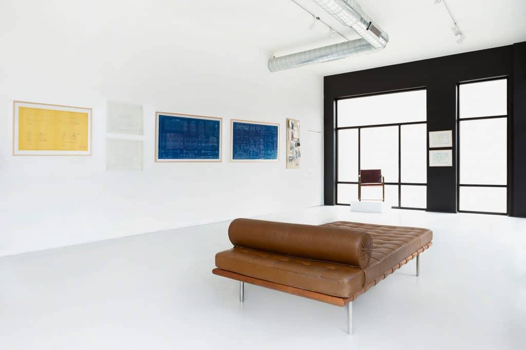 Mies van der Rohe Matthew Rachman Gallery Chicago Blues and Beyond blueprints Barcelona couch