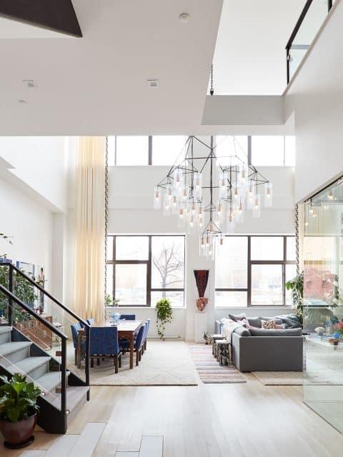 JDK Interiors Living Room with Chandelier