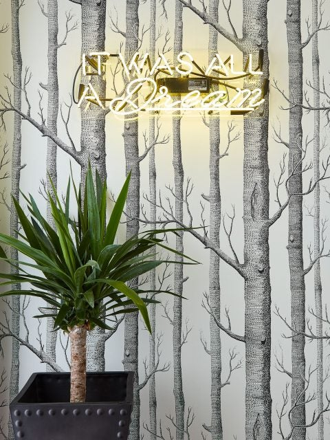 JDK Interiors Roof Access Wallpaper with Decorative Neon Sign