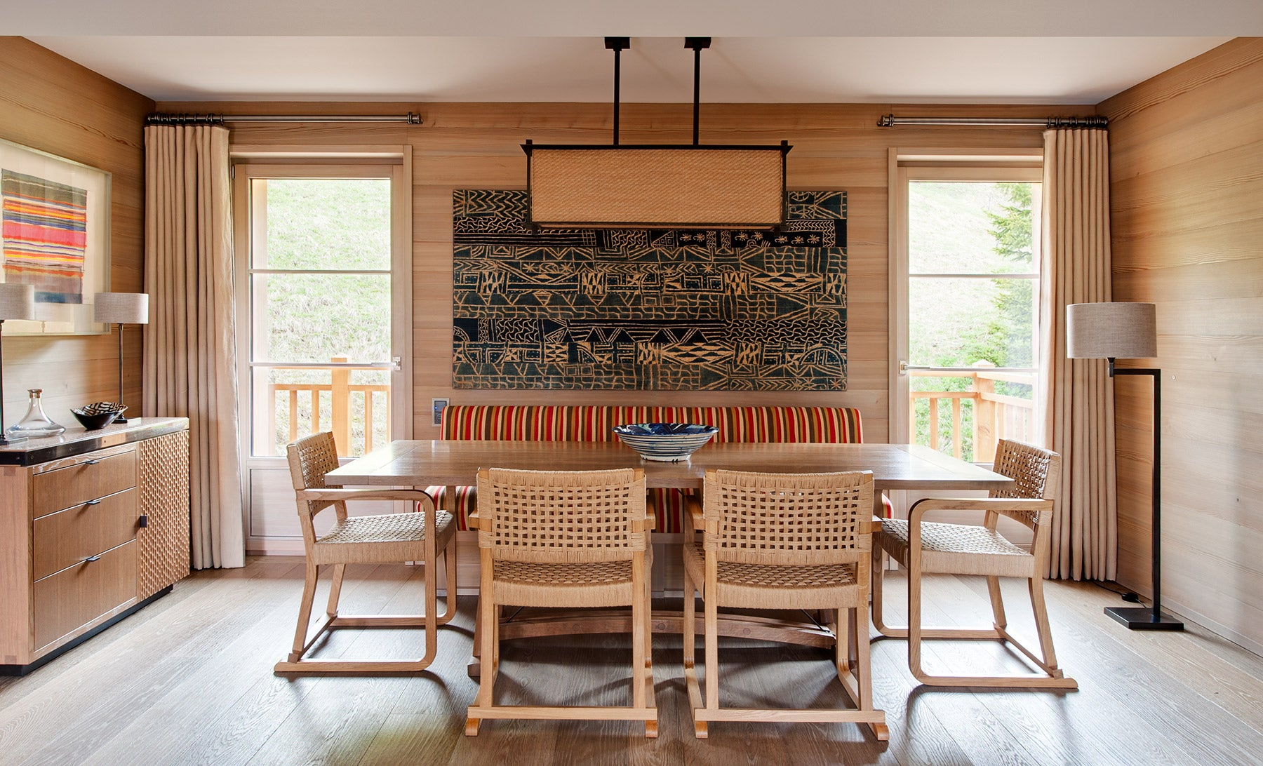 The dining room of a 1970s Swiss chalet, from Hugh Leslie