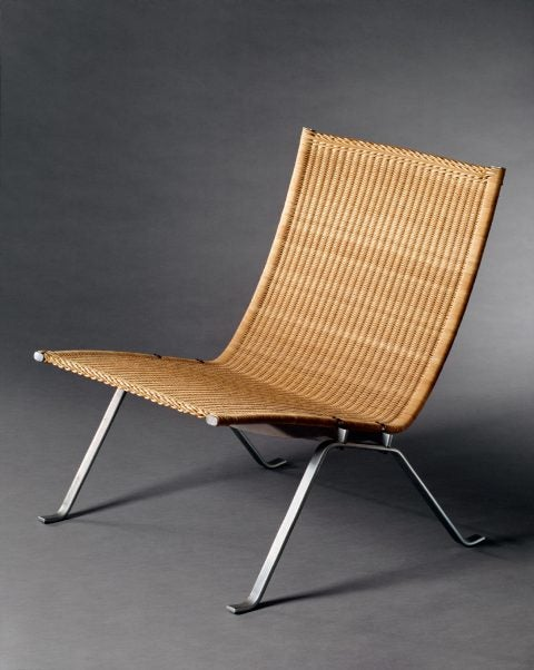 Poul Kjærholm's wicker and chromed steel EKC22 chair, 1955-1957