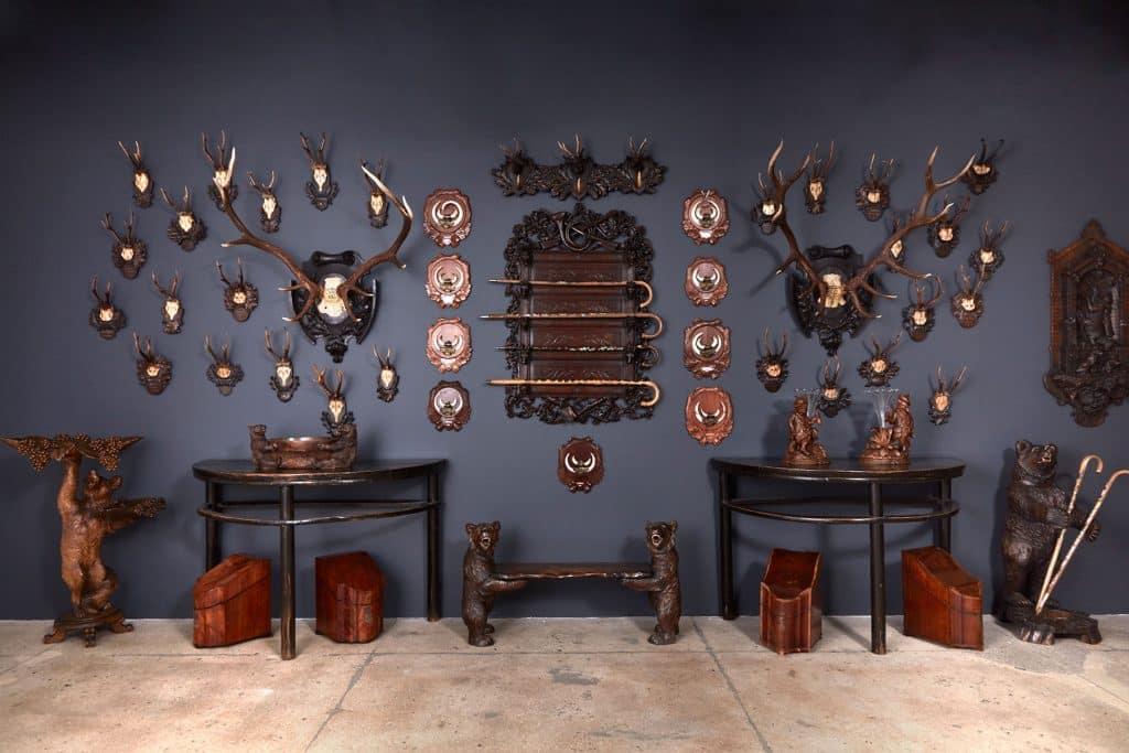 1stdibs Gallery Chelsea Christie's Juan Montoya Black Forest Germanic antlers bears