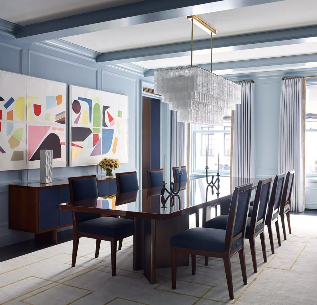 Sawyer Berson Interiors Dining Room with Chandelier