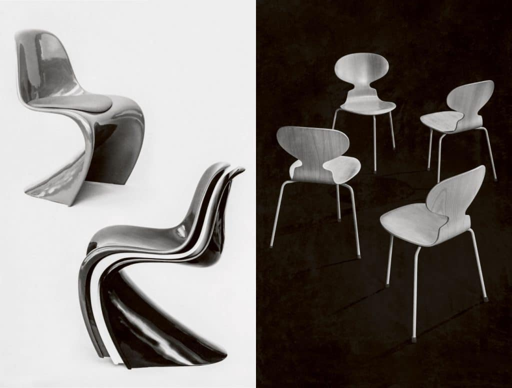Left: Verner Panton Panton Chair, right: Arne  Jacobsen The Ant Chair