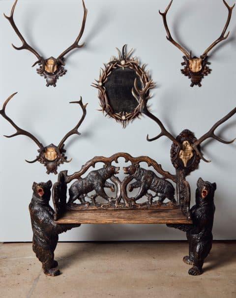 1stdibs Gallery Chelsea Christie's Juan Montoya Black Forest antlers bench bears