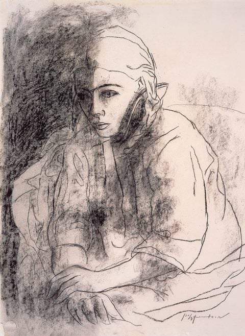 Roy Lichtenstein Early Career Charcoal Sketch