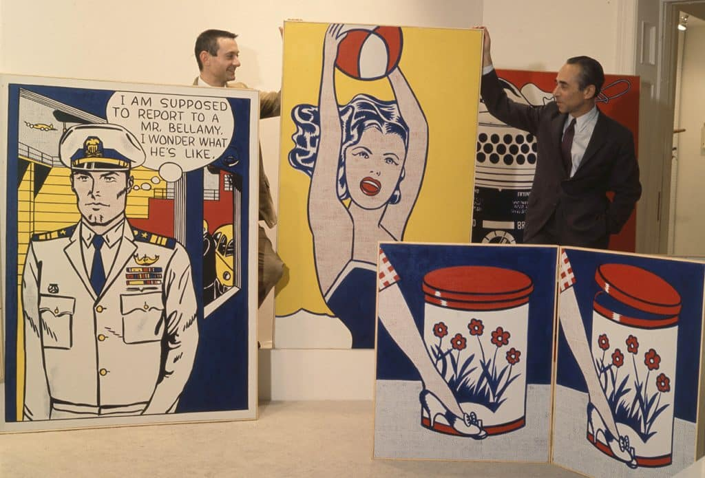 Roy Lichtenstein with his Paintings in a Gallery Space
