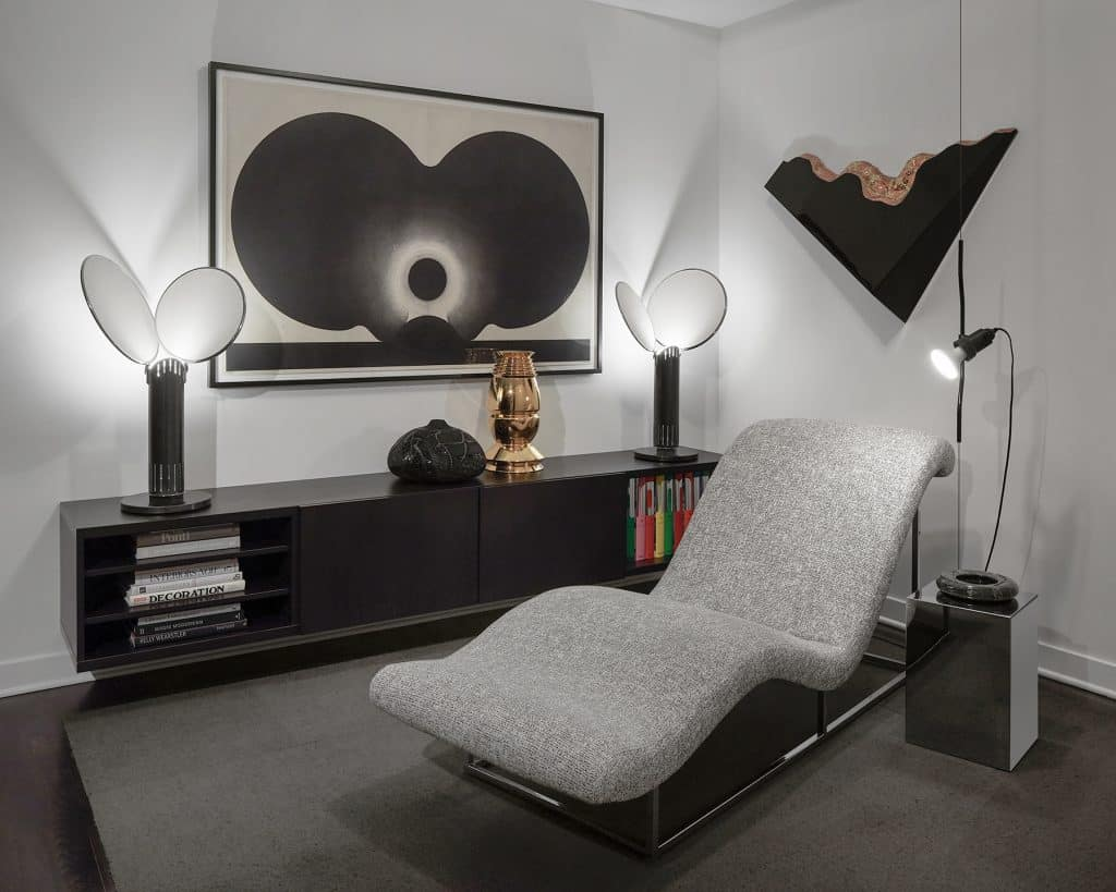 Glass pieces by Angelo Mangiarotti and sideboard by Bramin Mobler