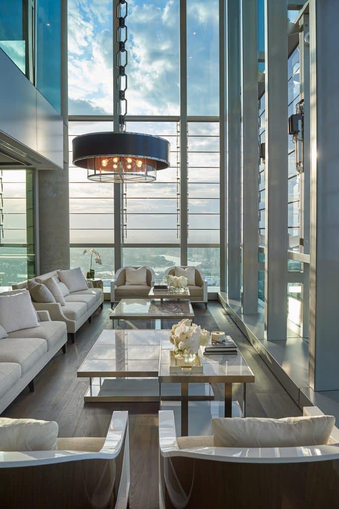 Australian architect interior designer Blainey North Sydney penthouse corner seating