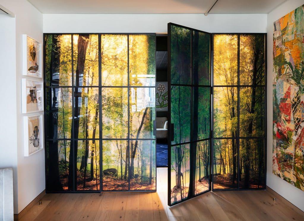 Amanda Weil created this custom tree glass wall