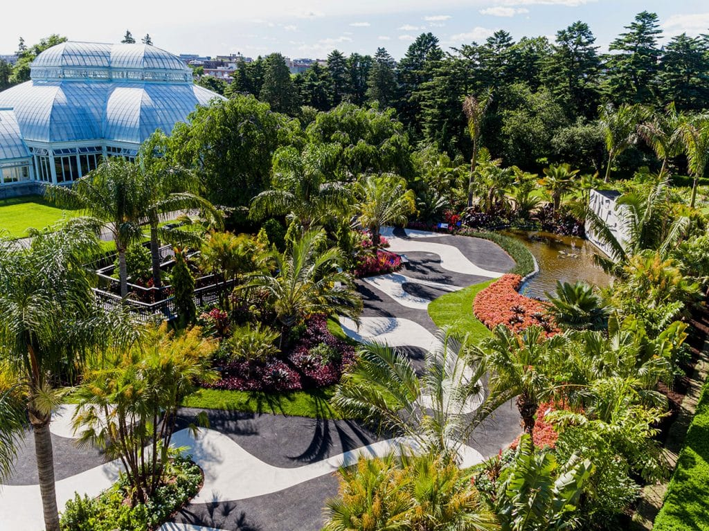 Outdoor overhead shot of the Raymond Jungles and Roberto Marx NYBG Show