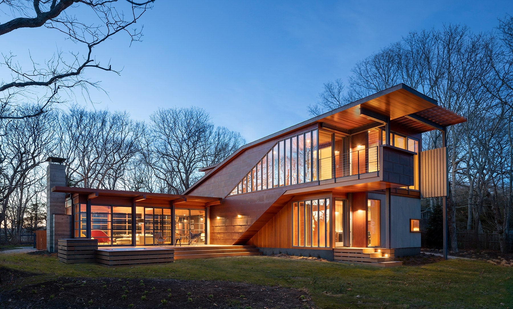 Exterior of the Shelter Island residence, clad in copper and Western red cedar