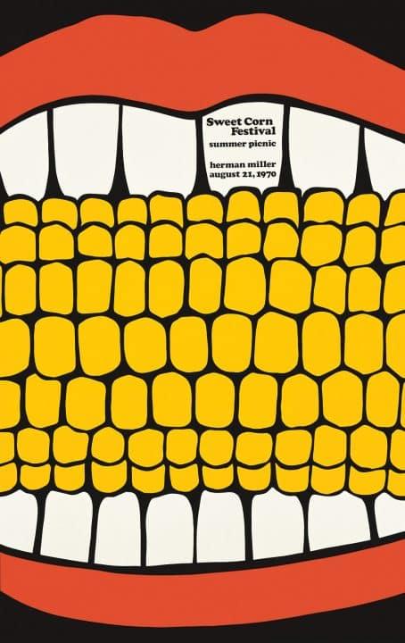 Vintage Stephen Frykholm Poster for the Sweet Corn Festival: Summer Picnic, Sponsored by Herman Miller